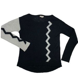 Funky Retro Colour Block Sweater in Black and Grey